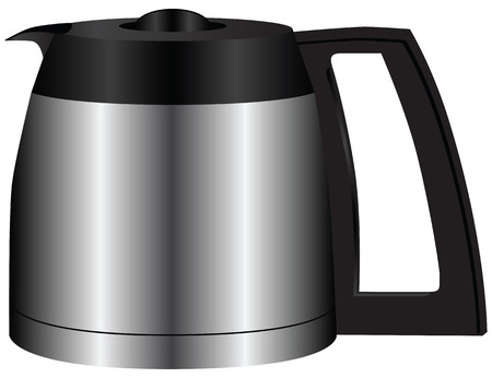 finished: Steel container for the finished coffee. Vector illustration.
