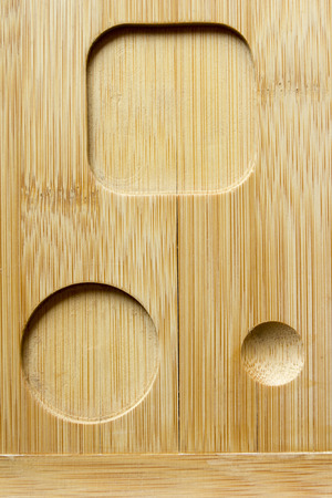 grooves: Specialized wooden surface with grooves of different shapes for fixing. Stock Photo
