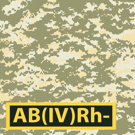 Badge AB blood group, Rh-negative on camouflage background for the steppe. Vector illustration.