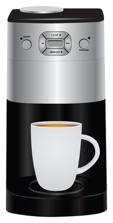 electrically: Electric coffee pot and a full cup of coffee. Vector illustration.