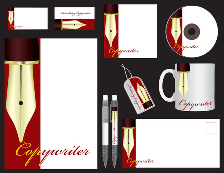 copywriter: Corporate identity for the company Advertising Copywriter. Vector illustration. Illustration