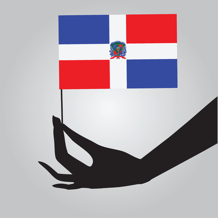 dominican: Flag of Dominican Republic in a female hand. Vector illustration.