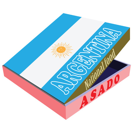 smolder: Asado - the national food of Argentina, in a box delivery, with the national flag of the country. Vector illustration.
