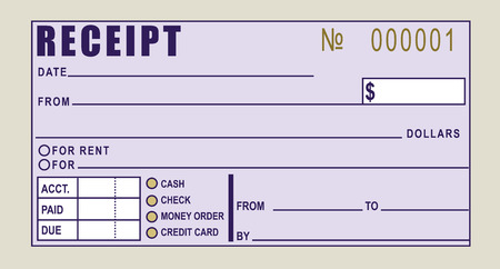 Financial receipt - Can be used for rent payments or any other type of payment. Vector illustration.
