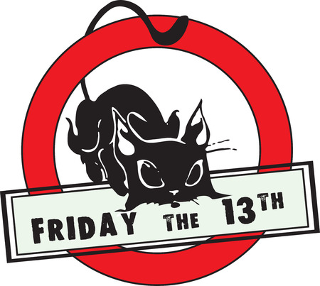 Friday the 13th - a symbol of failure - a black cat. Vector illustration. Vector