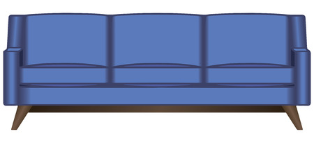 Sofa with fabric cover three places. Vector illustration.
