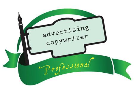 copywriter: Banner advertising copywriter for the profession. Vector illustration. Illustration