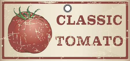 Classic tomato on the old label. Vector illustration.