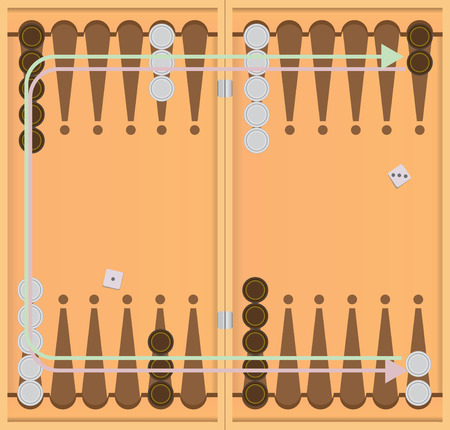backgammon: The direction of movement of chips.. Vector illustration.