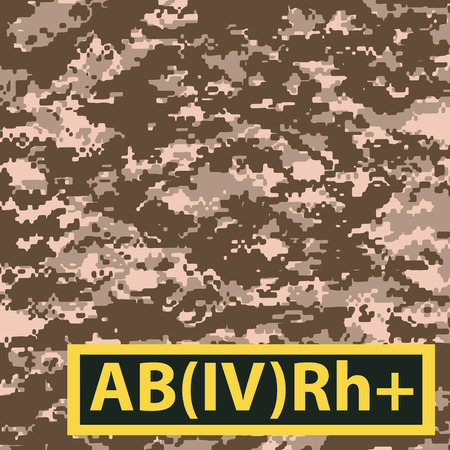 Badge AB blood group with Rh positive on a special camouflage background. Vector illustration.