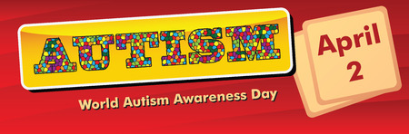 Banner for the World Autism Awareness Day, celebrated on 2 April. Vector illustration.