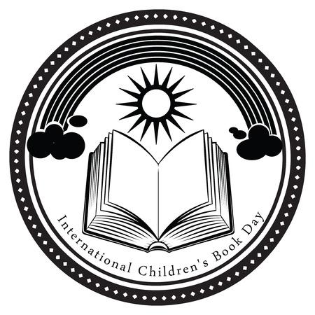 marca libros: Día del Libro Infantil Internacional se celebra el segundo de abril. Ilustración del vector. Vectores