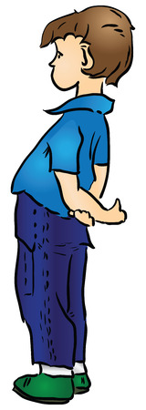 blue shirt: Cartoon boy in blue trousers and a blue shirt. Vector illustration.
