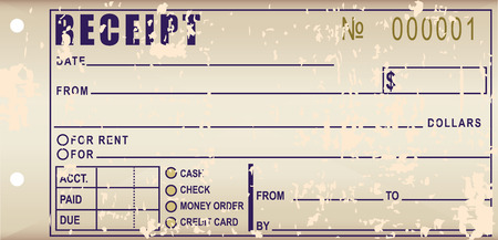balance sheet: Old receipt - To fix the damaged document effecting payments. Vector illustration.