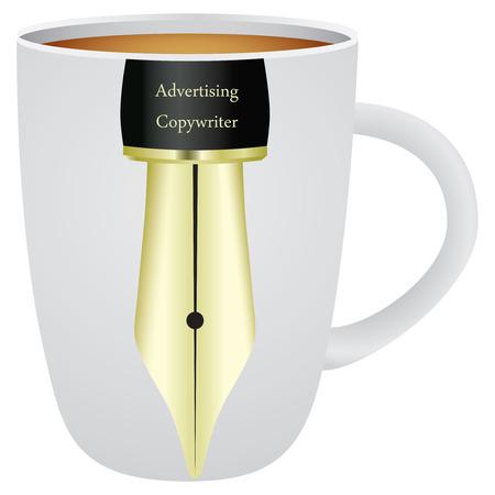 Cup voor ons Reclame Tekstschrijver. Vector illustratie.