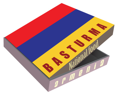 armenian: Basturma - Armenian National dish of meat in a cardboard box for shipping. Vector illustration. Illustration