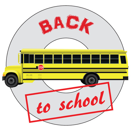 schoolbus: Character back to school and the school bus. Vector illustration.