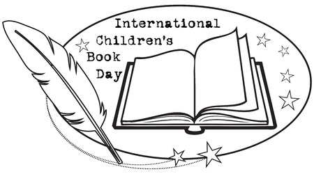 Oval logo to the international day of childrens books. Vector illustration.