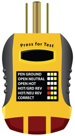tester: Outlet tester that tests the ground fault by overloading. Vector illustration.