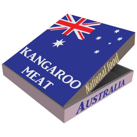 fiambres: Packaging entrega r�pida carne de canguro - plato nacional de Australia. Ilustraci�n del vector.