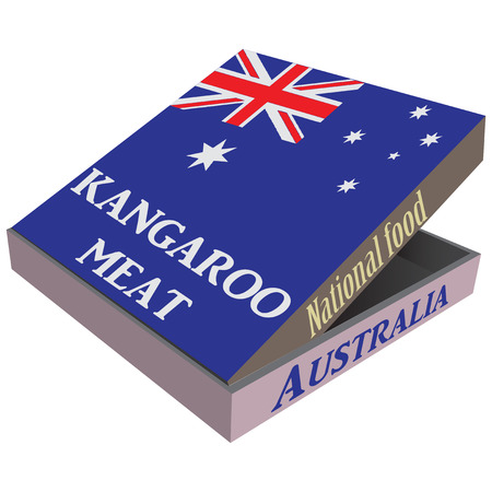 red kangaroo: Packaging fast delivery kangaroo meat - Australian national dish. Vector illustration. Illustration