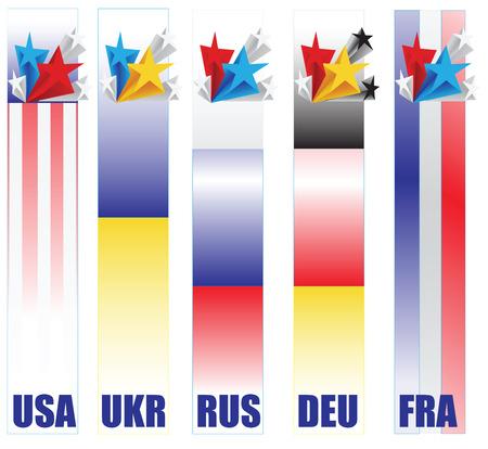 resolving: Banners paesi partecipanti nella soluzione del conflitto in Ucraina - gli Stati Uniti, Ucraina, Russia, Germania e Francia. Illustrazione vettoriale. Vettoriali
