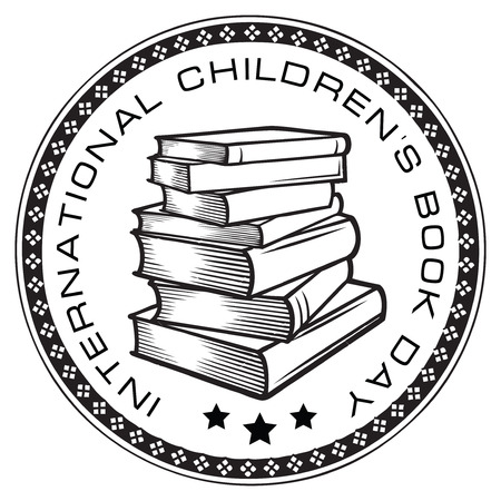 Seal impression to the international day of childrens books. Vector illustration. Illustration