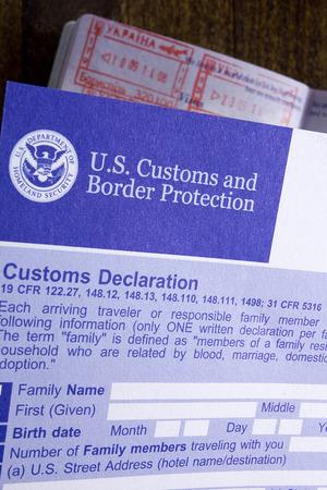 declaration: Customs declaration and passport, visa and passage of customs control. Stock Photo