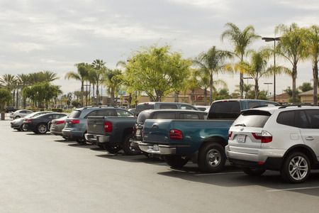 walmart: Cars in the parking lot - March 2015, San Diego, before Wal-Mart store.