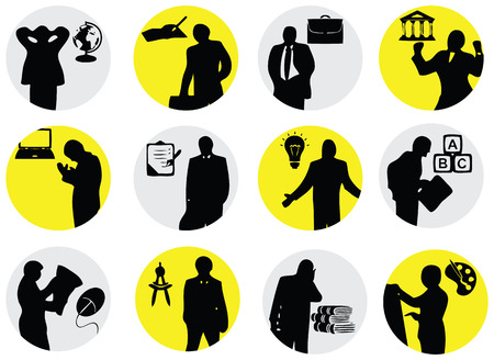 associated: Business situation in the form of symbols associated with the events. Vector illustration.