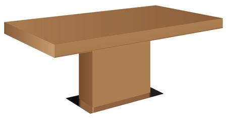 mesa de comedor: Mesa del comedor moderna con pata central. Ilustraci�n del vector.
