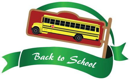 schoolbus: Symbol with yellow school bus, back to school. Vector illustration. Illustration