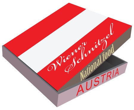 Viennese schnitzel in the box fast delivery. Vector illustration. Illustration