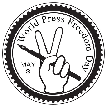 inprint: Symbolic imprint rubber stamp - World Press Freedom Day. Vector illustration.