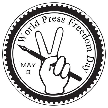 Symbolic imprint rubber stamp - World Press Freedom Day. Vector illustration.