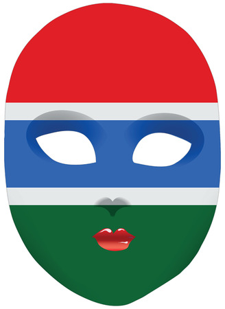 statehood: Classic mask with symbols of statehood of Gambia. Vector illustration