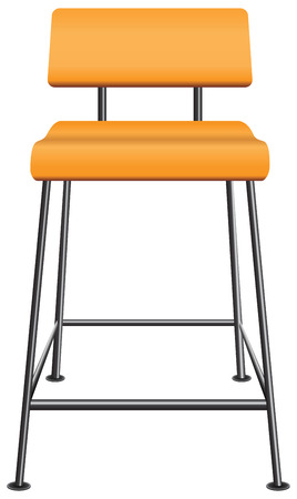 A wooden stool with a back on steel legs. Vector illustration. Illustration