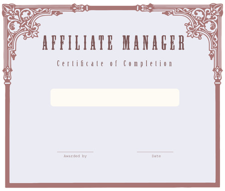 manager: Affiliate Manager, Certificate of Completion. Vector illustration.