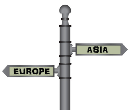Symbolic signpost Europe - Asia. Geographical, social and political separator. Vector illustration.