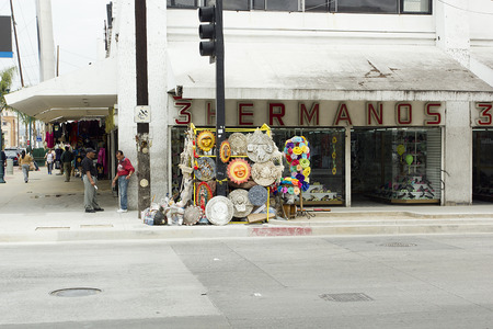Tijuana, Mexico - 15 March 2015. The street in the city of Tijuana, the Mexican national trade hats.
