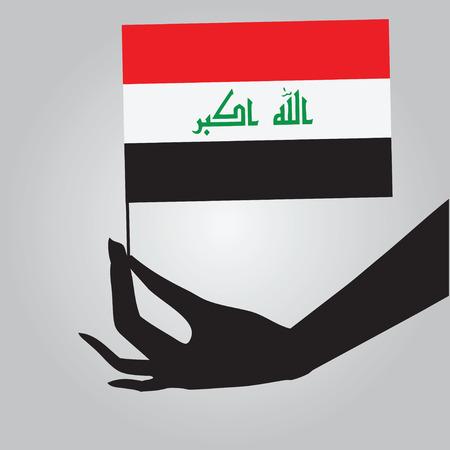 여성 손에 이라크의 국기입니다. 벡터 일러스트 레이 션.
