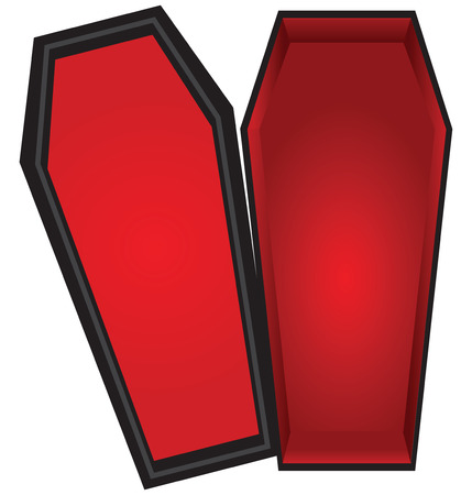 Open coffin with a red cloth inside the lid is open. Vector illustration.