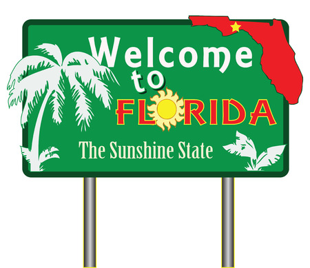 advertise with us: Welcome to Florida for the presentation of the southern US state. Vector illustration.
