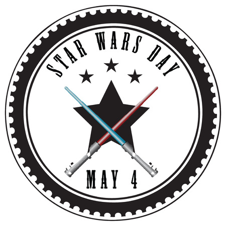 space wars: Stamp abstract imprint for Star Wars Day - May 4. Vector illustration.