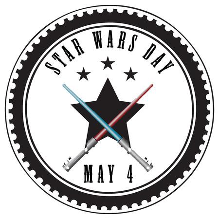 Stempel abstracte opdruk voor Star Wars Day - Mei 4. Vector illustratie.