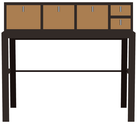 storage: Industrial table with drawers for storage.  Illustration
