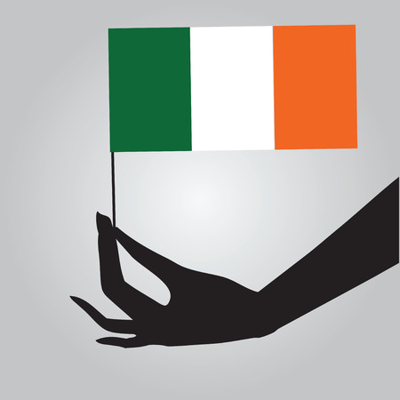 ireland flag: Flag of Ireland in a female hand.