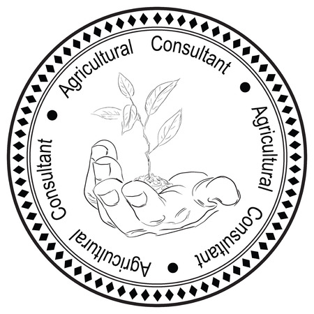 Imprint stamp printing for Agricultural Consultant. Illustration