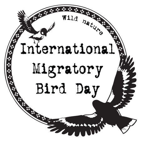 migratory: International Migratory Bird Day - imitation stamp imprint. Vector illustration. Illustration