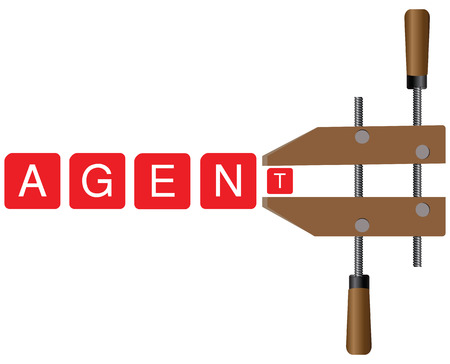 press agent: Locking mechanism for the creation of a single form of all agencies and agents. Creative vector illustration.